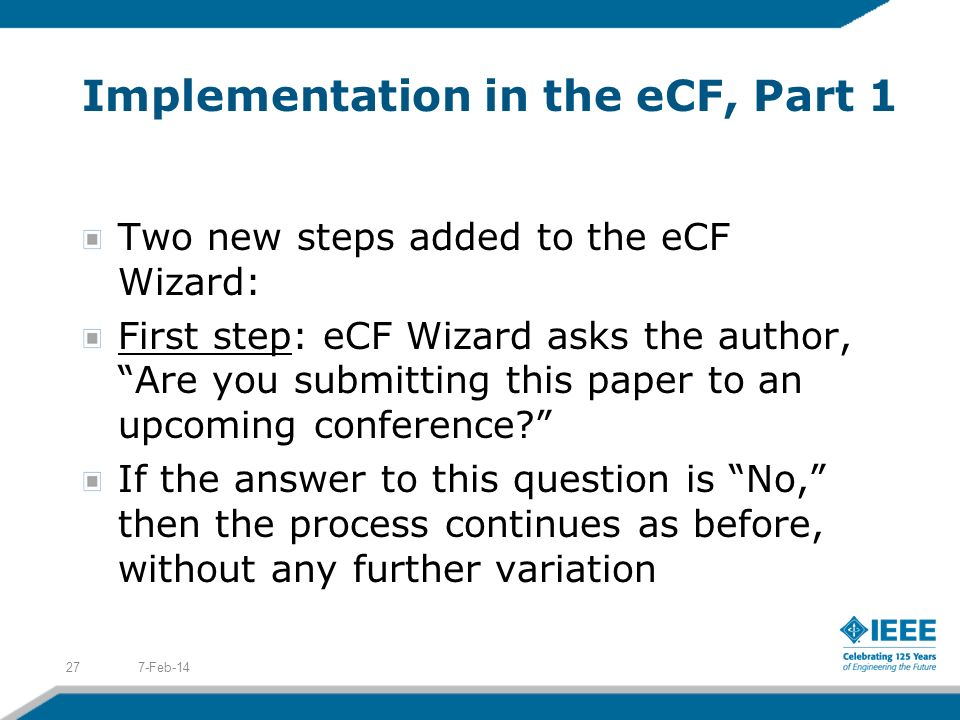 Implementation in the eCF, Part 1