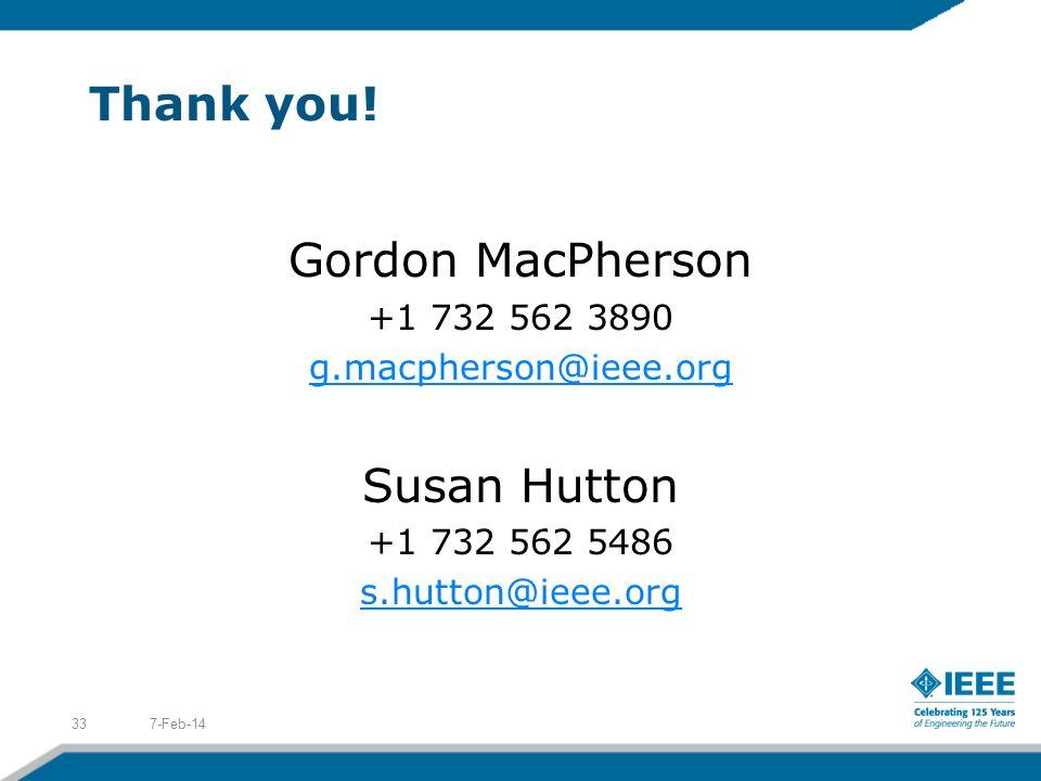Thank you! Gordon MacPherson Susan Hutton +1 732 562 3890