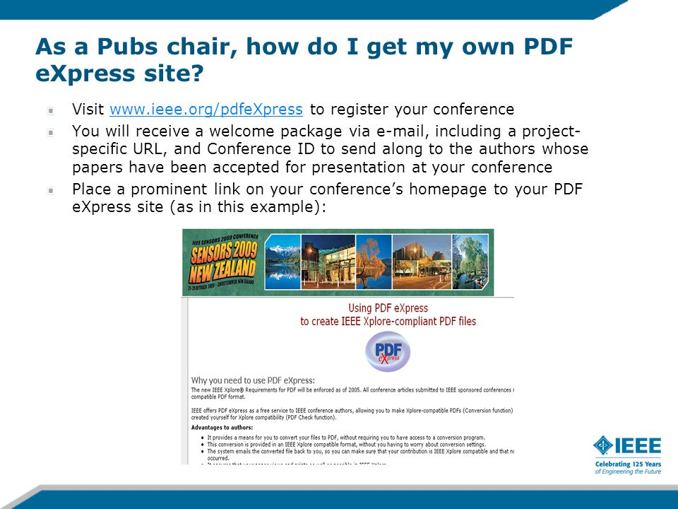 As a Pubs chair, how do I get my own PDF eXpress site
