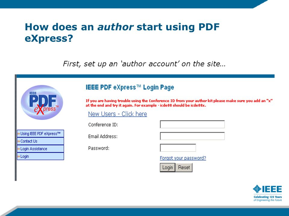 How does an author start using PDF eXpress