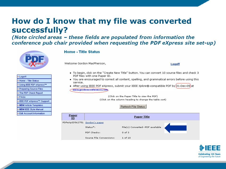 How do I know that my file was converted successfully