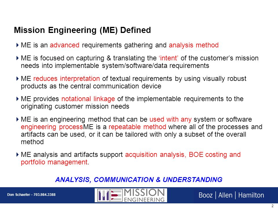 Mission Engineering (ME) Defined