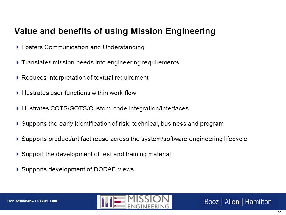 Value and benefits of using Mission Engineering