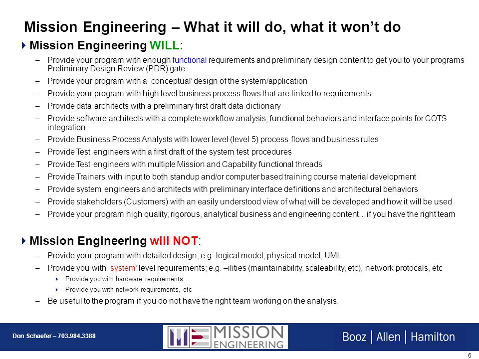 Mission Engineering – What it will do, what it won't do