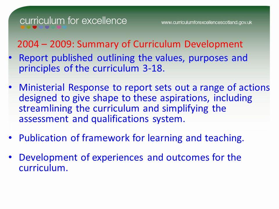 2004 – 2009: Summary of Curriculum Development