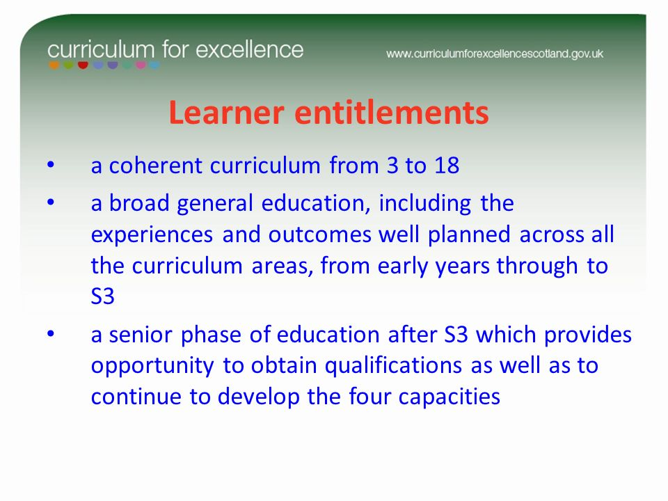 Learner entitlements a coherent curriculum from 3 to 18