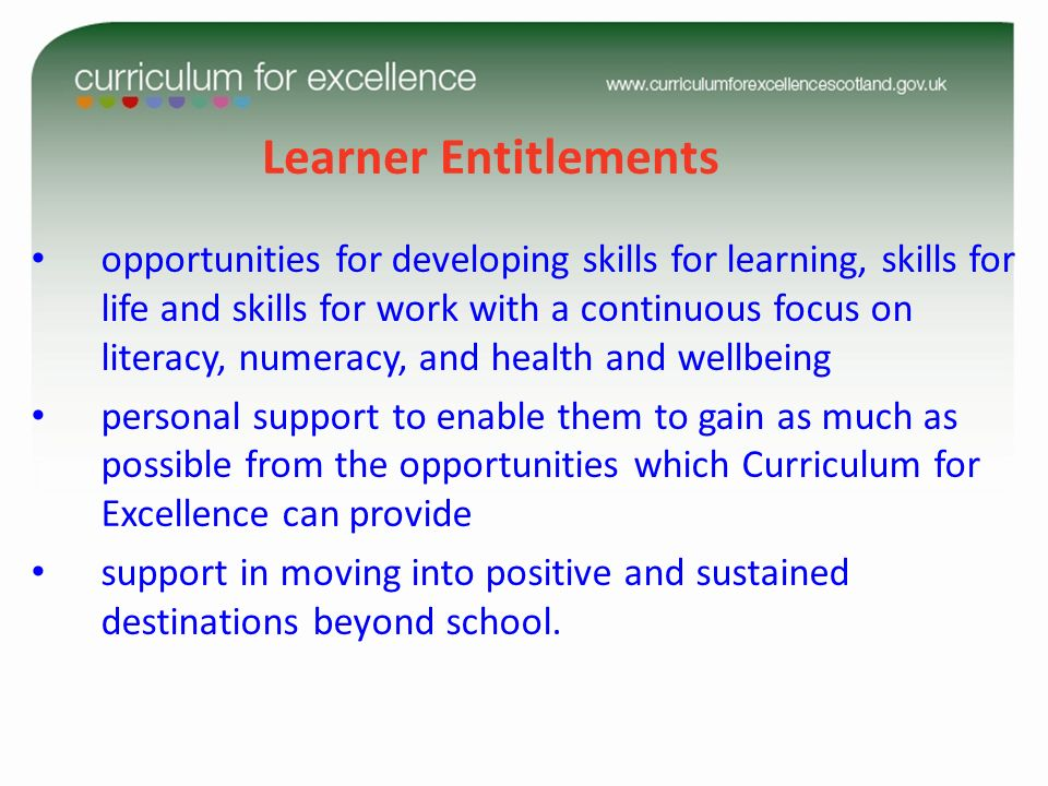 Learner Entitlements