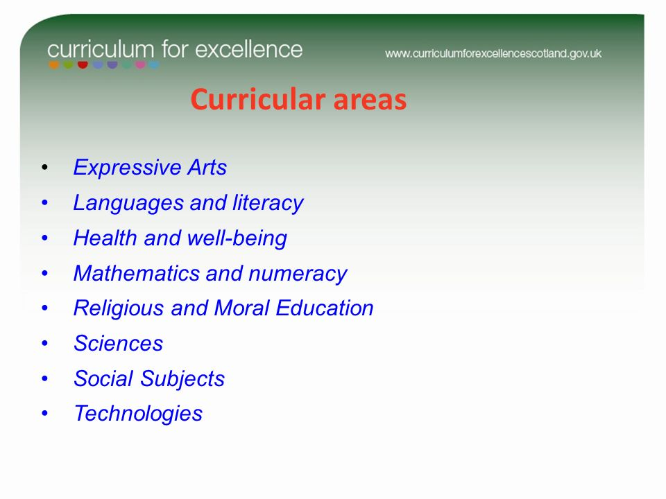 Curricular areas Expressive Arts Languages and literacy