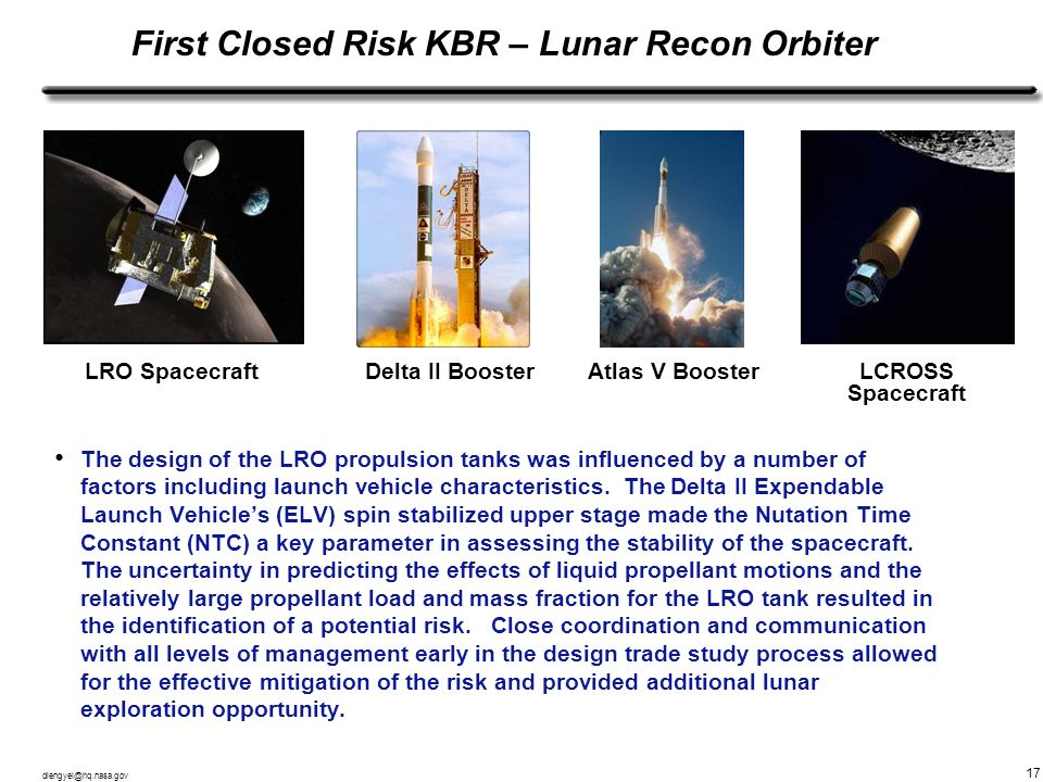 First Closed Risk KBR – Lunar Recon Orbiter