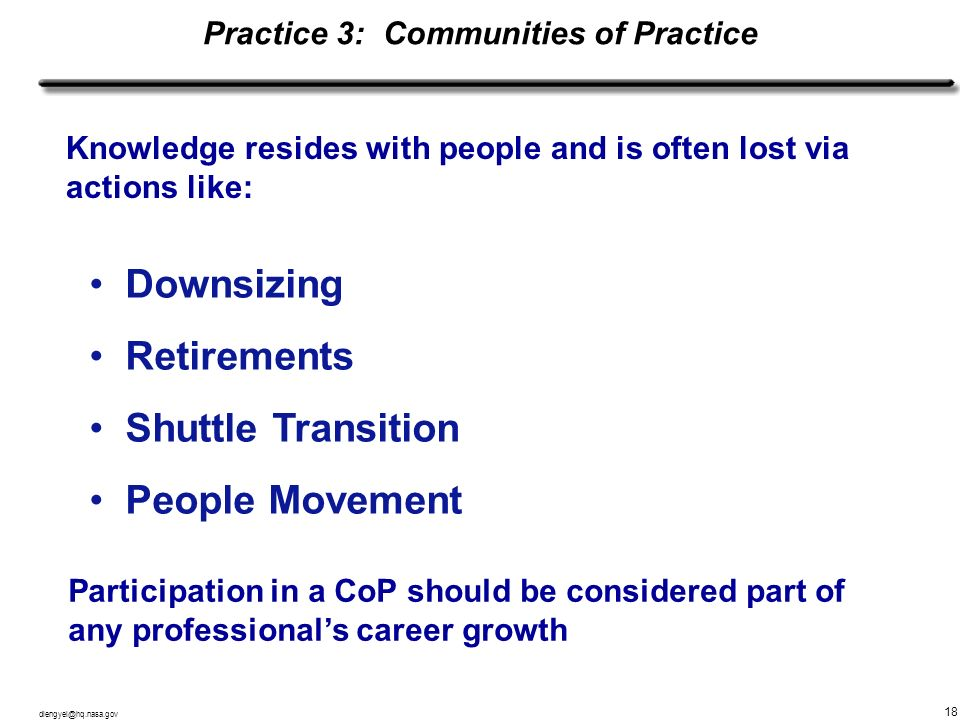 Practice 3: Communities of Practice