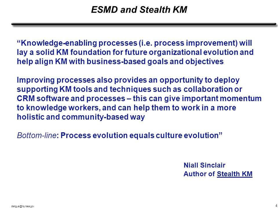 ESMD and Stealth KM Niall Sinclair