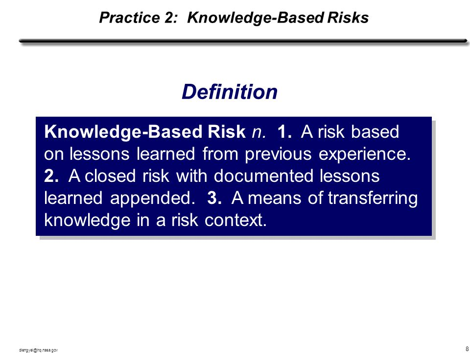 Practice 2: Knowledge-Based Risks