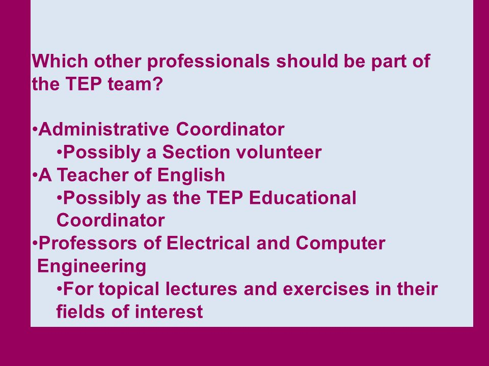 Which other professionals should be part of the TEP team
