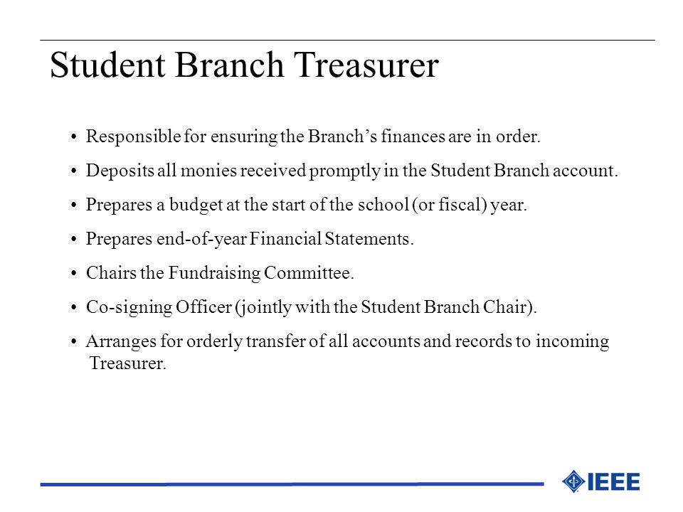 Student Branch Treasurer