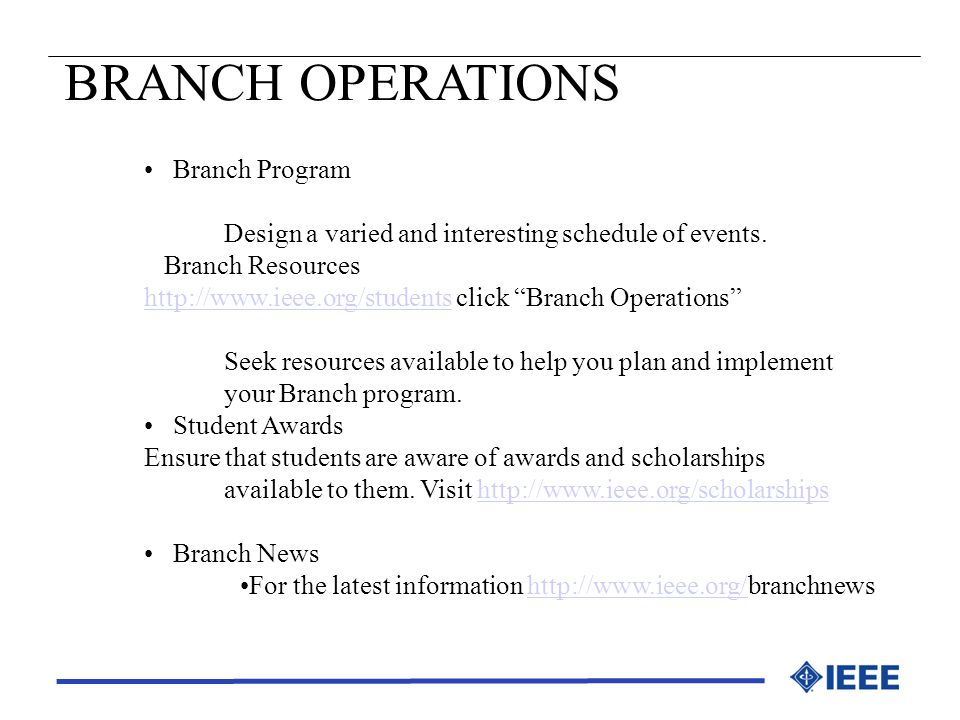 BRANCH OPERATIONS Branch Program