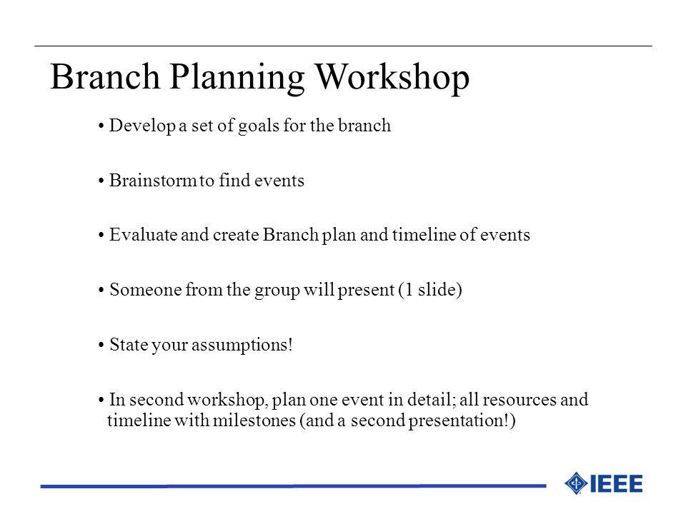 Branch Planning Workshop
