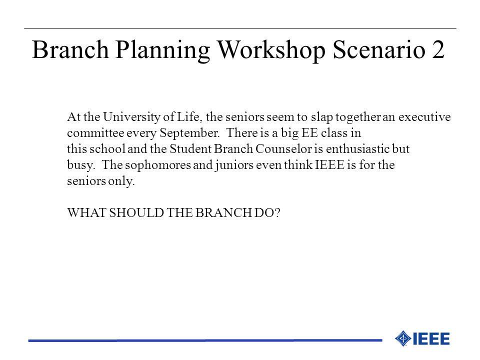 Branch Planning Workshop Scenario 2