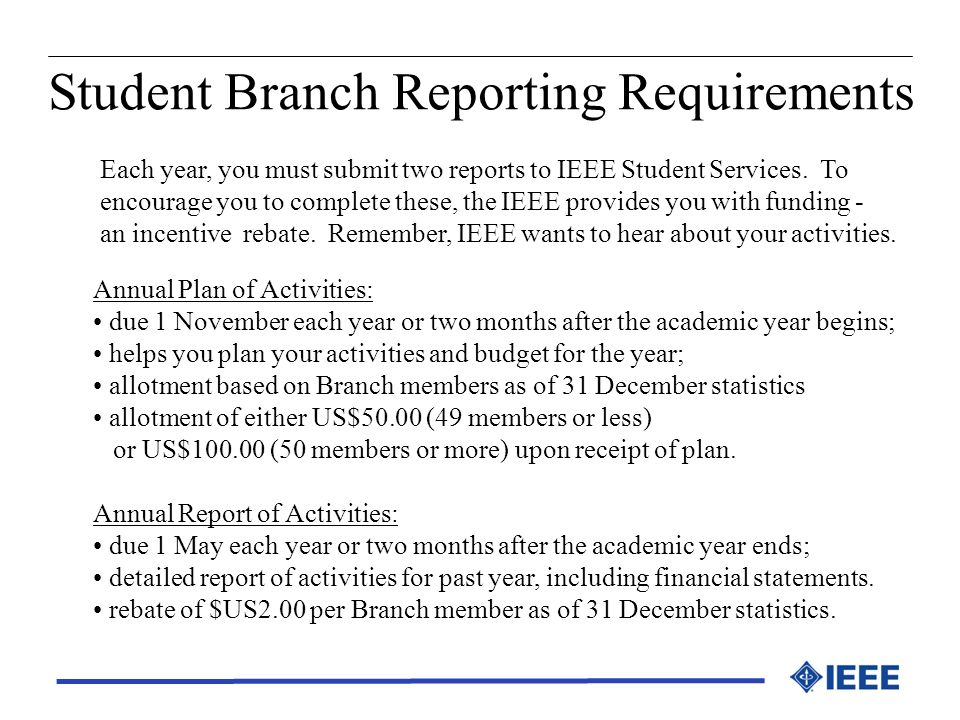 Student Branch Reporting Requirements