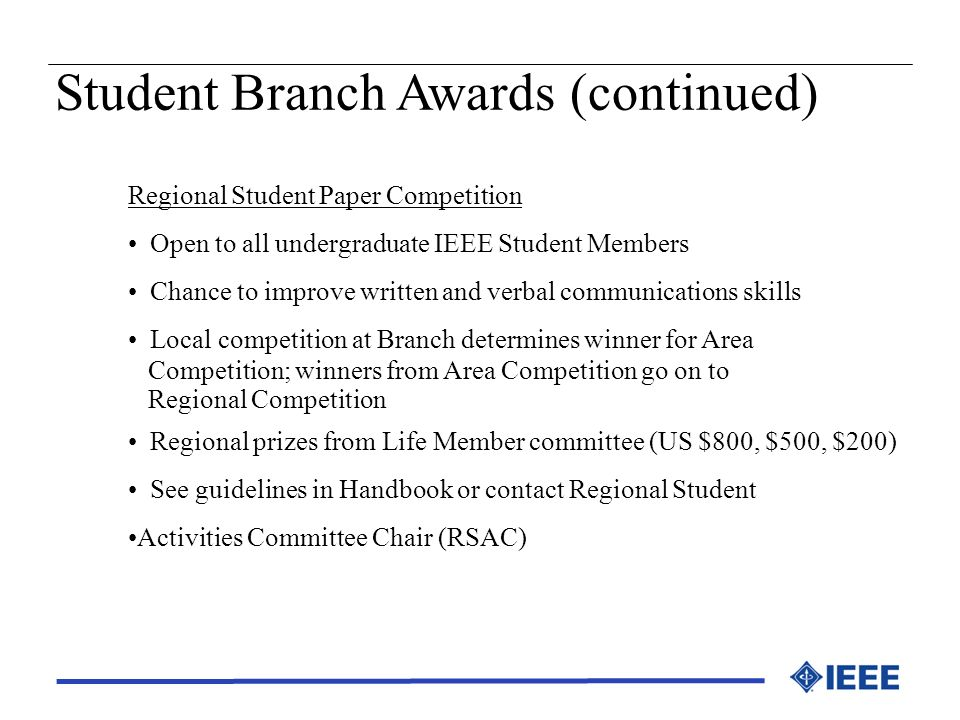 Student Branch Awards (continued)