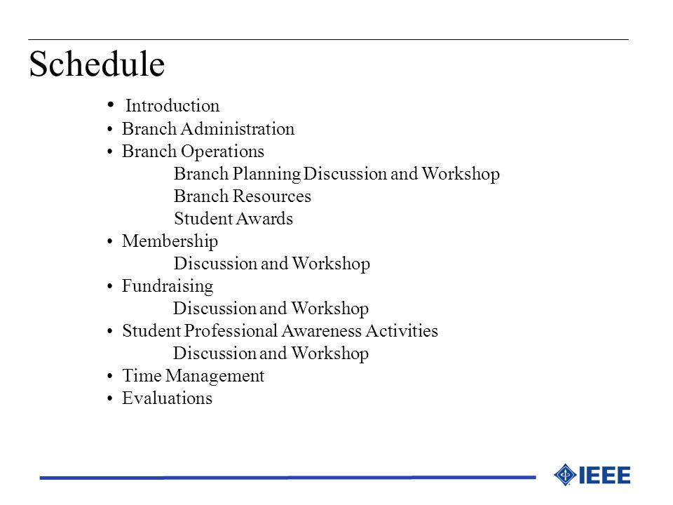 Schedule Introduction Branch Administration Branch Operations