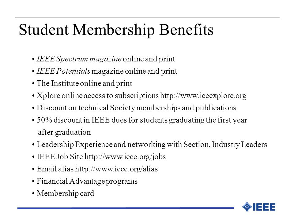 Student Membership Benefits