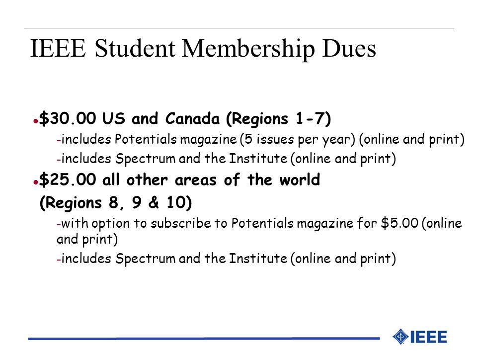 IEEE Student Membership Dues