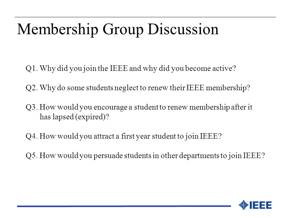 Membership Group Discussion