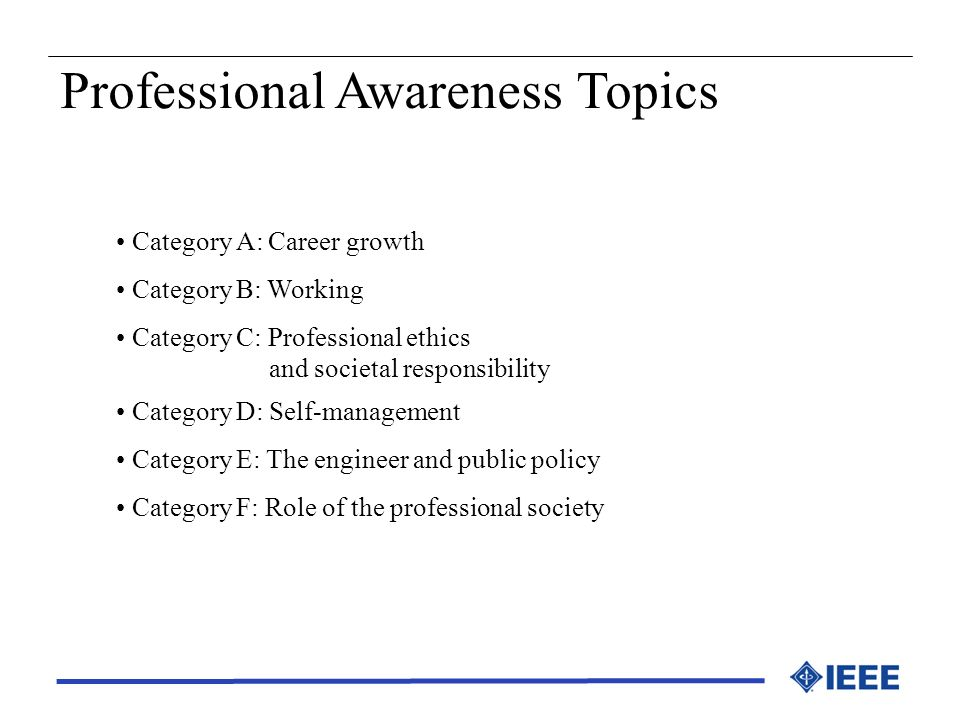 Professional Awareness Topics