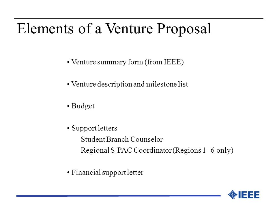 Elements of a Venture Proposal