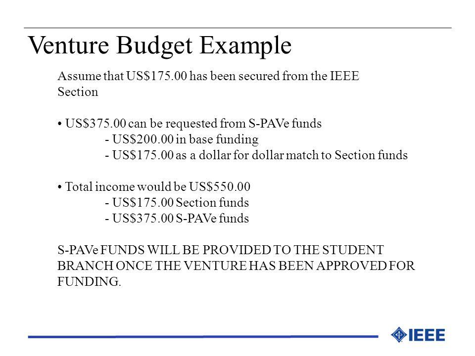 Venture Budget Example
