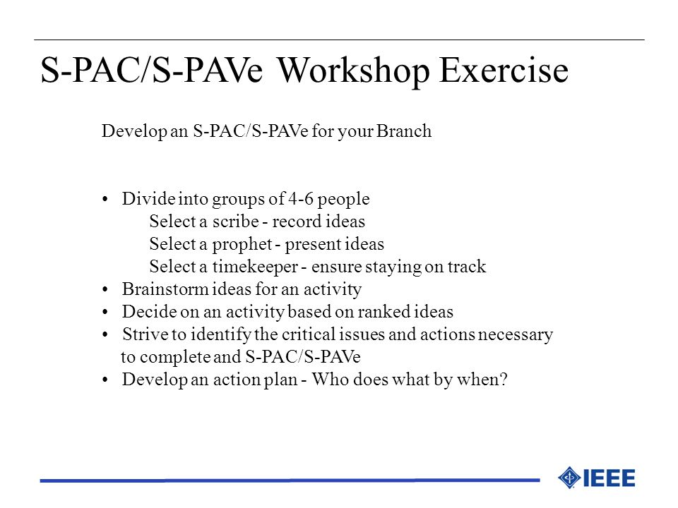S-PAC/S-PAVe Workshop Exercise