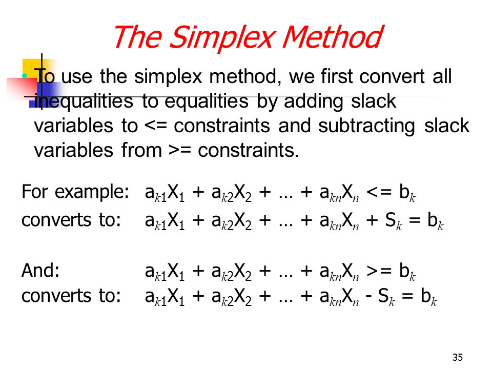 """the simplex solution method We illustrate a general solution procedure, called the simplex algorithm, by  implementing  that are """"defined"""" in this way are called the basic variables, while  the."""