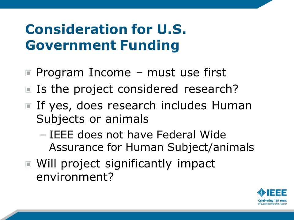 Consideration for U.S. Government Funding