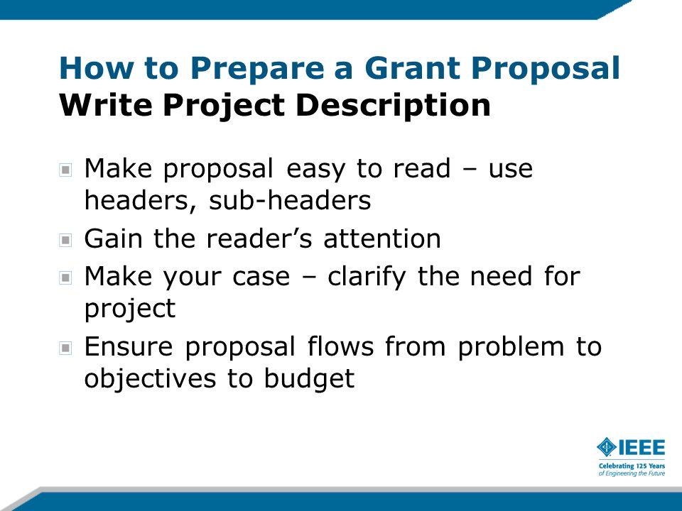 How to Prepare a Grant Proposal Write Project Description