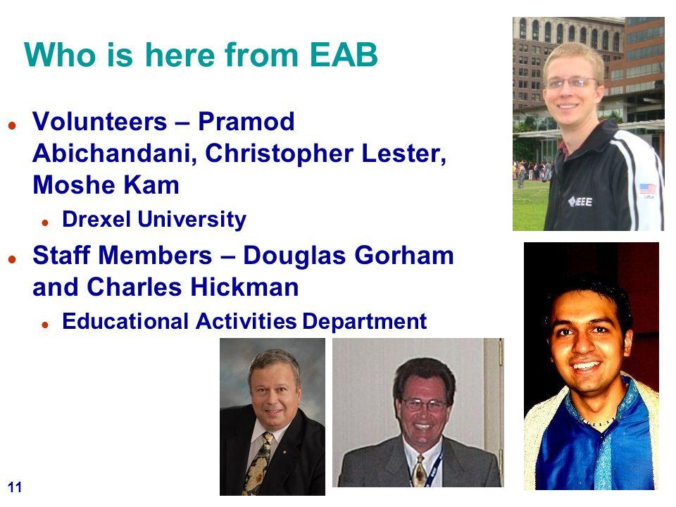 Who is here from EAB Volunteers – Pramod Abichandani, Christopher Lester, Moshe Kam. Drexel University.