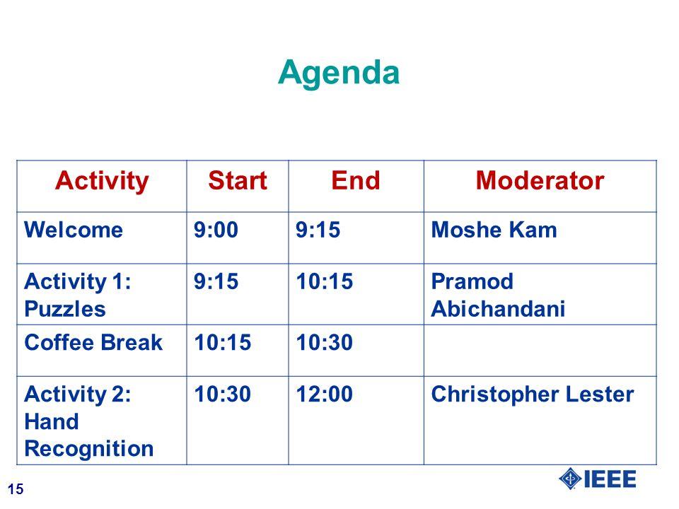 Agenda Activity Start End Moderator Welcome 9:00 9:15 Moshe Kam