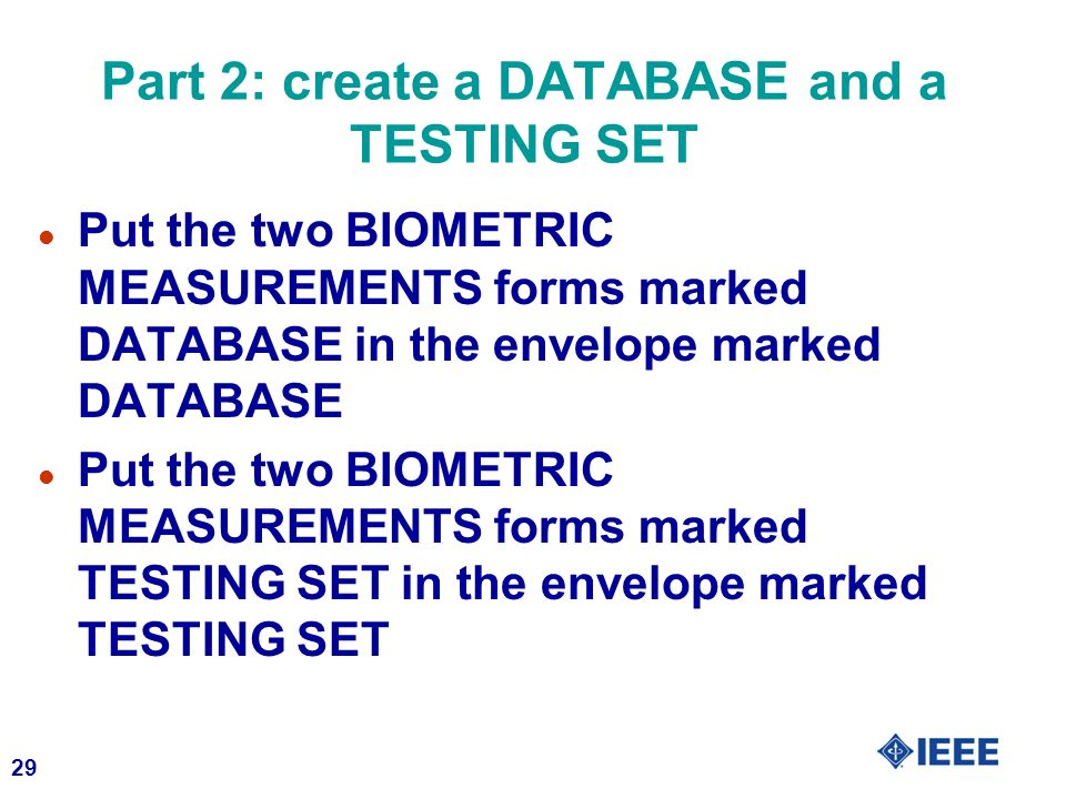 Part 2: create a DATABASE and a TESTING SET