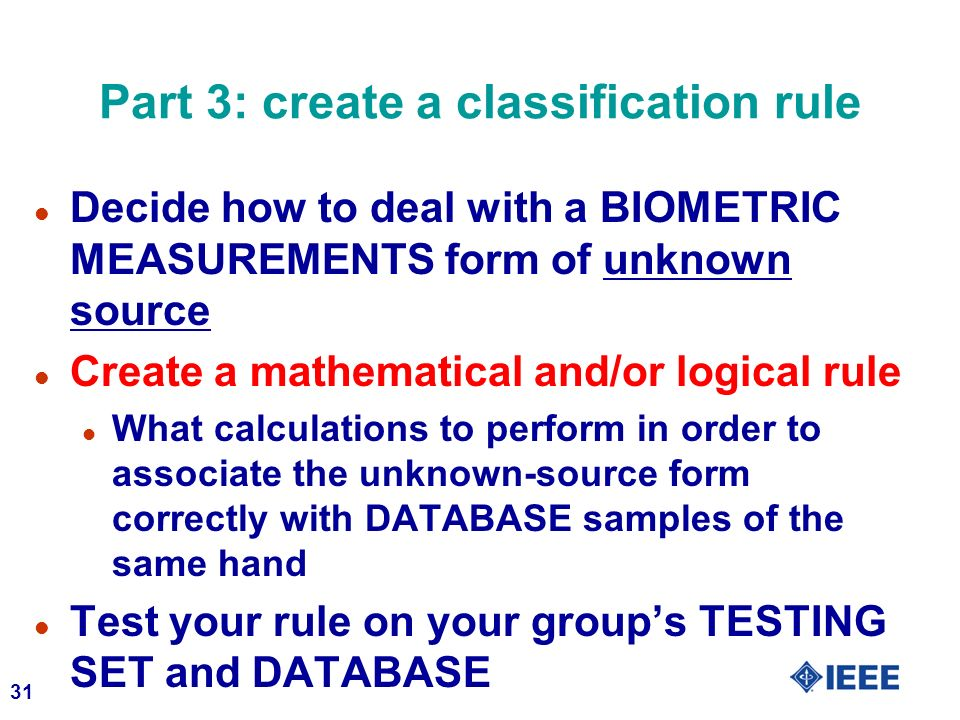 Part 3: create a classification rule