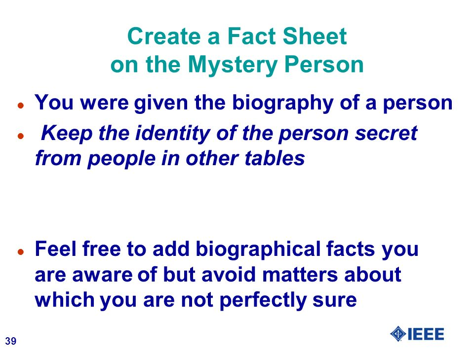 Create a Fact Sheet on the Mystery Person