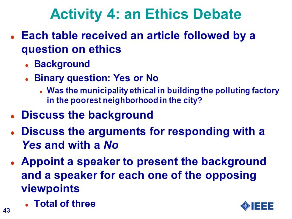 Activity 4: an Ethics Debate