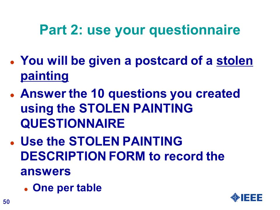Part 2: use your questionnaire