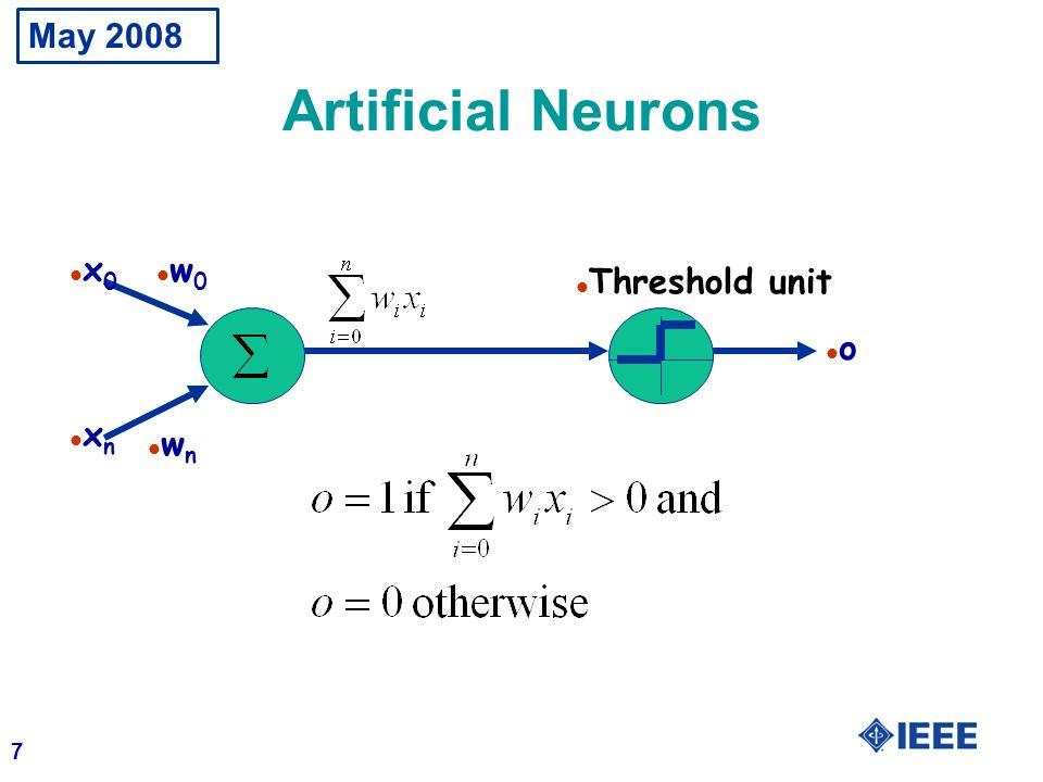 May 2008 Artificial Neurons x0 w0 Threshold unit o xn wn