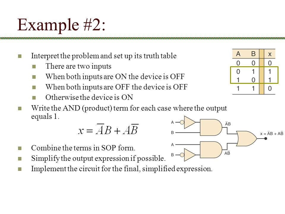 Example #2: Interpret the problem and set up its truth table