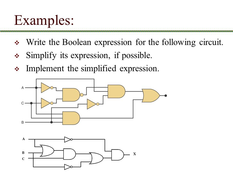 Examples: Write the Boolean expression for the following circuit.