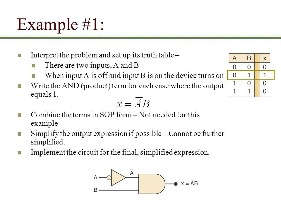 Example #1: Interpret the problem and set up its truth table –