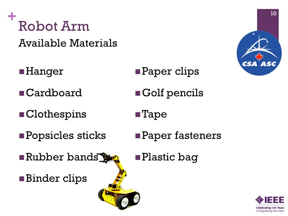 Robot Arm Available Materials Hanger Paper clips Cardboard