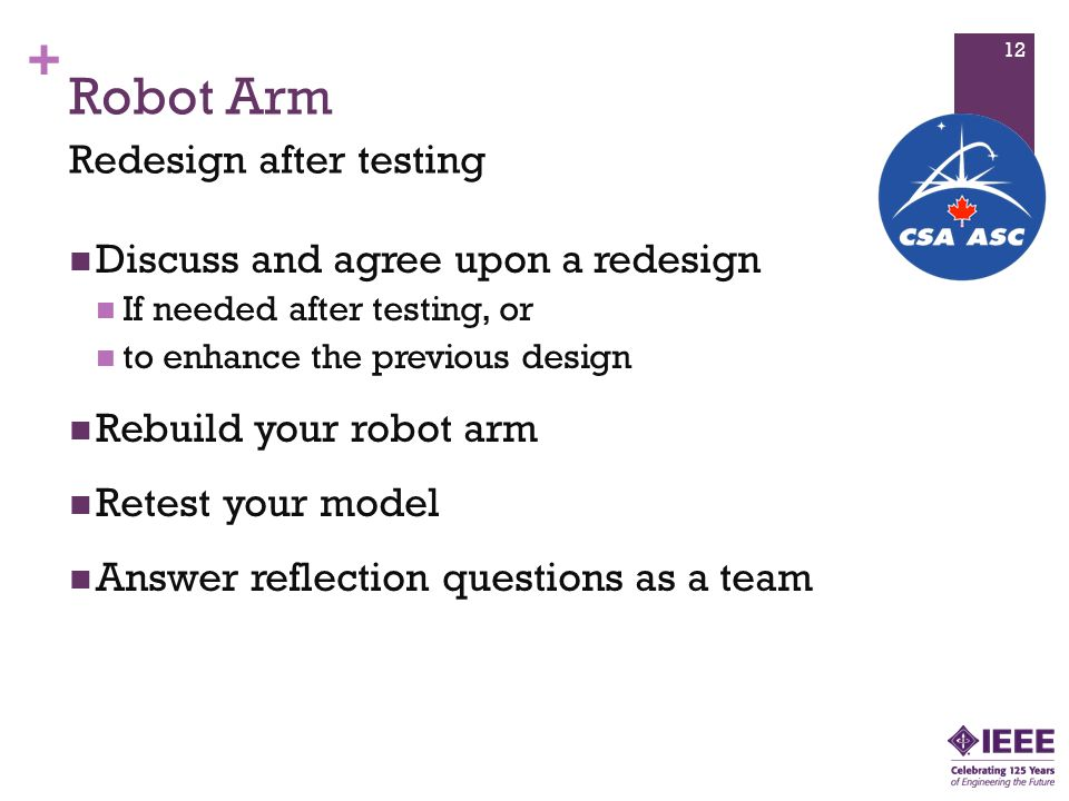 Robot Arm Redesign after testing Discuss and agree upon a redesign