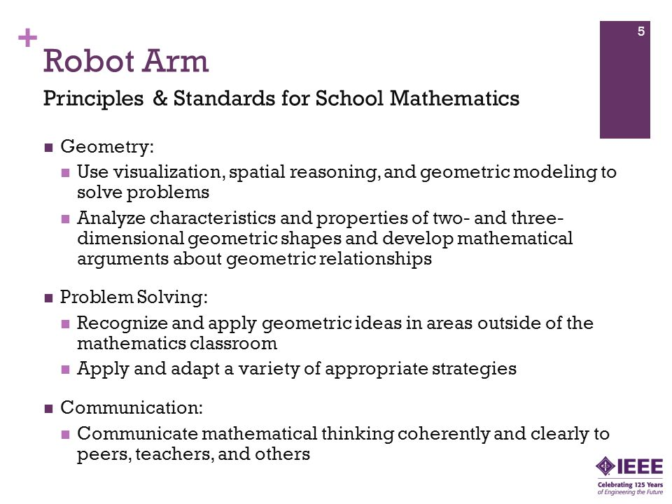 Robot Arm Principles & Standards for School Mathematics Geometry:
