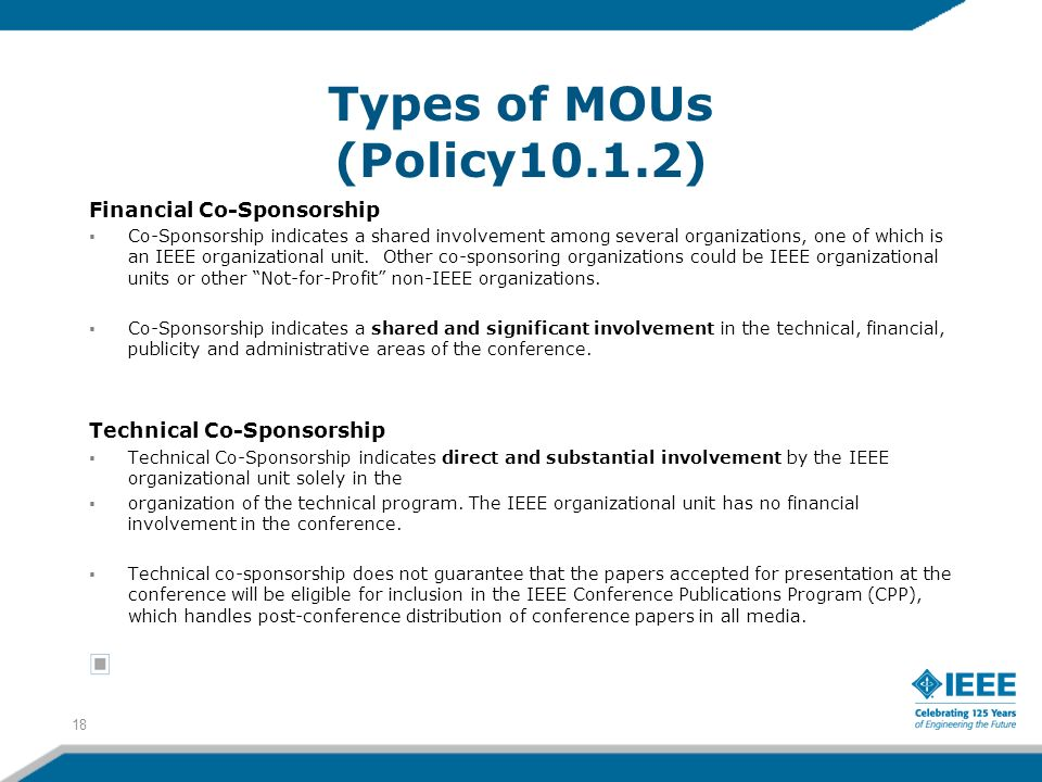 Types of MOUs (Policy10.1.2) Financial Co-Sponsorship