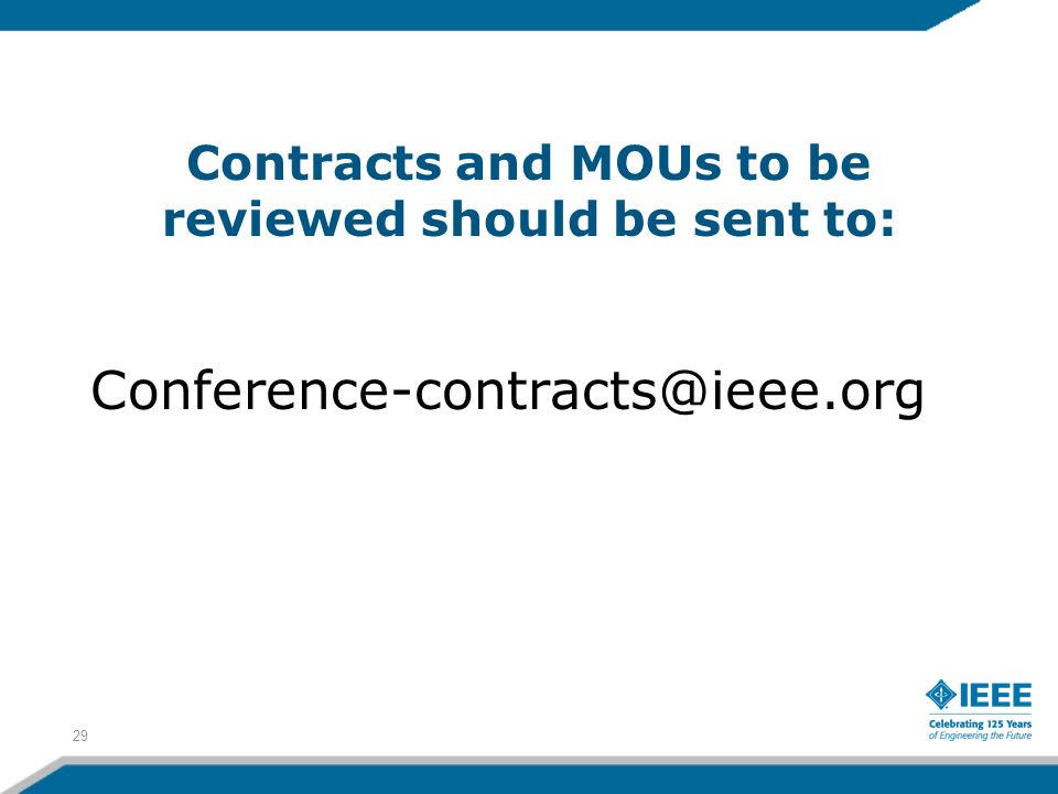 Contracts and MOUs to be reviewed should be sent to: